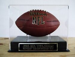 New York Giants Football Display Case W/ A Super Bowl 42 Engraved Nameplate