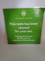 Burger King Restaurant By Order Of The King Table Clean/table Needs Cleaned Sign