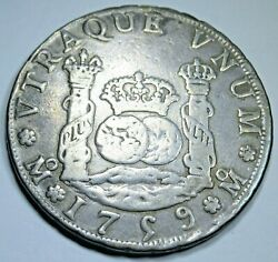 1759 4r Mexico Silver 4 Reales Antique 1700s Spanish Colonial Pirate Pillar Coin