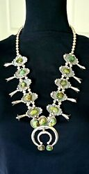 Natural Form Green Turquoise Sterling Silver Squash Blossom 27 Necklace C 70and039s