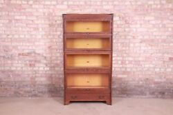 Antique Mission Oak Arts And Crafts Four-stack Barrister Bookcase By Weis, Circa 1