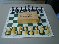 Vintage Drueke Games No 35 Simulated Wood Chess Set Weighted Bottoms Usa Only