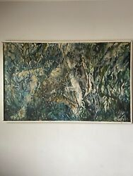 Large Mid Century Modern Abstract Oil Painting Vintage Expressionist Dray 1963