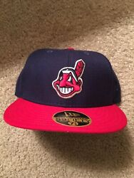 New Era Size 7 1/8 5950 Fitted Grey Bottom Cleveland Indian's 1996-2001 Hat Mlb