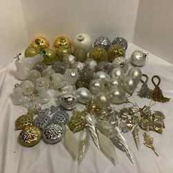 Large Lot Christmas Balls Ornaments Crackle Sparkle Pears Snowflakes Gold Silver