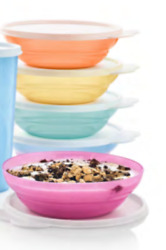 New Tupperware Vintage Style Cereal Bowls Set Of 5 Pastel Colors