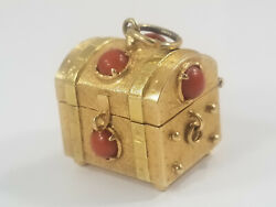 Vintage 18k Gold Jeweled Pirate Treasure Chest Trunk Charm Opens