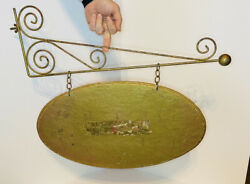 Large 24 Brass Vintage Hanging Bracket For 2 Sided Sign W/light Weight Sign