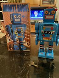 """Rare Mighty Robot Tin Litho 9"""" Wind Up Robot New In Box Metalmania Made In China"""