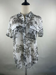 Tommy Bahama Women's Black And White Hawaii Print Polo Shirt Button Up Medium