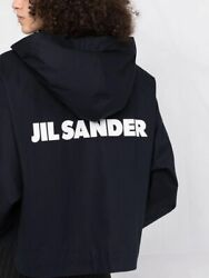 Jil Sander Logo-print Hooded Jacket Cotton S Black And White Snap Button Small