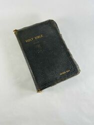 Holy Bible With Worn Black Leather Cover King James Old And New Testaments New Y