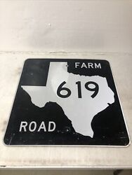 Authentic Retired Texas Farm Road 619 Highway Street Sign