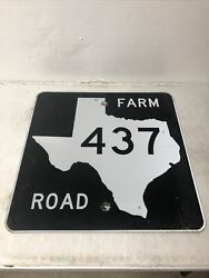 Authentic Retired Texas Farm Road 437 Highway Street Sign