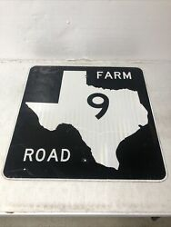 Authentic Retired Texas Farm Road 9 Highway Street Sign