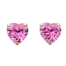10k Yellow Gold Heart-shaped Created Pink Sapphire Stud Earrings - 7mm