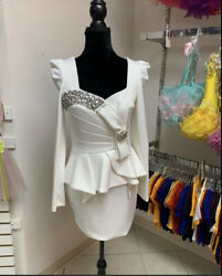 Small White Pageant Interview Formal Cocktail Party Dress Suit
