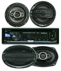 Soundxtreme St-930bt Bluetooth Car Receiver +4x Audiobank 6x9 And 6.5 Speaker