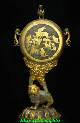 21 Old Chinese Silver Gold Gilt Dynasty Golden Toad Spittor Fish Screen Statue