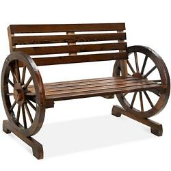 Wooden Wagon Wheel Bench With Curved Armrest Decorative Design Outdoor Patio New