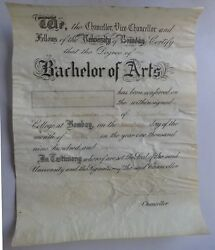 India 1918 Bachelor Of Arts Degree On Parchment Sd Willingdon Viceroy Of India