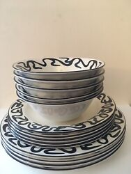 """Poole """"body Art"""" 14 Pieces. 9 Plates/4 Bowls .1980's . Discontinued .rare."""