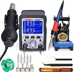 Yihua 995d+ 2 In 1 Hot Air Rework And Soldering Iron Station With X-2 Soldering
