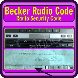 Becker Radio Code Europa 2000 Be1088 Be1100 Be1105 Be1107 Be1108 Be1109 Be1120 ✅