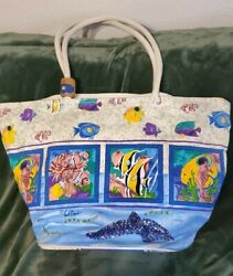 Paul Brent Canvas Shoulder Beach Tote Bag with Decorative Beads Fish Art $11.00