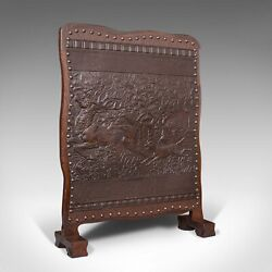 Antique Embossed Fire Screen, Oak, Leather, Fireside, Arts And Crafts, Edwardian