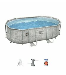 Coleman 16and039 X 10and039 X 48 Steel Frame Complete Set Swimming Pool + Ladder And Pump