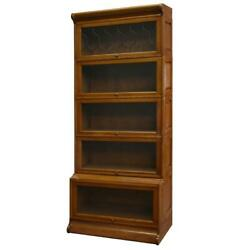 Mission Style Oak Barrister Bookcase 5 Stack W/ Leaded Glass