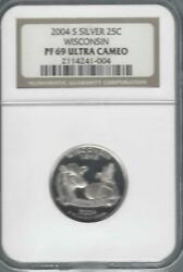 2004 S Silver 25c Wisconsin State Quarter Ngc Graded Pf69 Ultra Cameo Dairy Cow