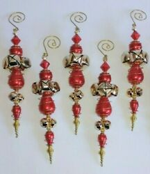 5 Red And Gold Beaded Jingle Bell Finial Spiral Dangle Christmas Ornaments