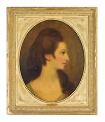 Antique Oil Painting Portrait Of Miss Clark Or Grant Style Of Angelika Kaufmann