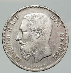 1869 Belgium With King Leopold Ii And Lion Antique Silver 5 Francs Coin I91986