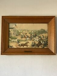 Rare 19th Century Antique Currier And Ives Lithograph Print Old 1870 Brass Label