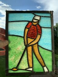 Golf Inspired Leaded Stained Glass Art Panel 6.5andrdquox8.5andrdquo Wall/window Golfer Art