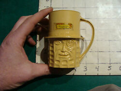 2 Tan Mr Peanut Items Bank And Cup, Vintage Plastic, Some Wear/damage