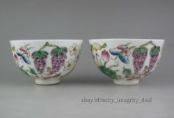 Beautiful Chinese Old Famille Rose Fruit Porcelain Teacups Cups Mark Pair