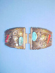 Ahasteen Original Navajo Turquoise And Coral Brass Tips With Speidel Band Piece