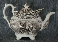 Ralph Hall Historical Staffordshire Brown Teapot 7 - Eagle Riding On Shell