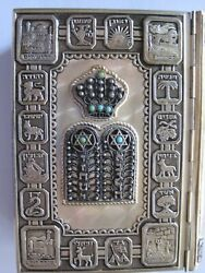Vintage- Prayers Of Israel -silver With Turq Stones Prayer Book-preowned