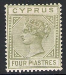 1892 Cyprus/ Cyprus Sg 35 4 Plates Olives-green Mlh