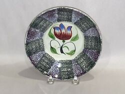 Staffordshire Spatterware Spatter Saucer In Tulip Pattern Black And Purple 1830