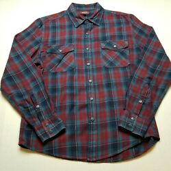 Arizona Flannel Shirt Mens L Red Blue Plaid Long Sleeve Button Front Collar 59