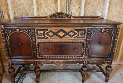 Antique Dining Set Table 5 Chairs Self Storing Pull Out Leaves And Buffet