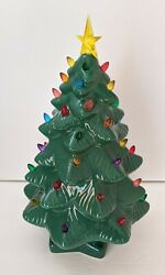Vintage 70's Ceramic Green Christmas Tree Piece Lights Up 14 Inch Height