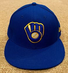 Christian Yelich Mlb Holo Game Used Hat Cap 2019 Brewers Pounded Photo Matched