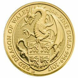 2017 1 Oz Gold Queenand039s Beasts Red Dragon Of Wales Coin - Royal Mint - Bu